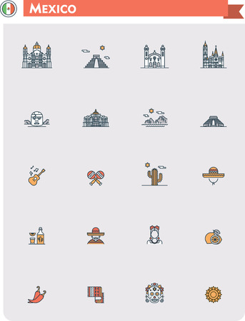 mexico: Set of the Mexico traveling related icons