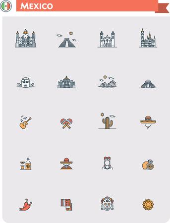 Set van de Mexico reizen iconen