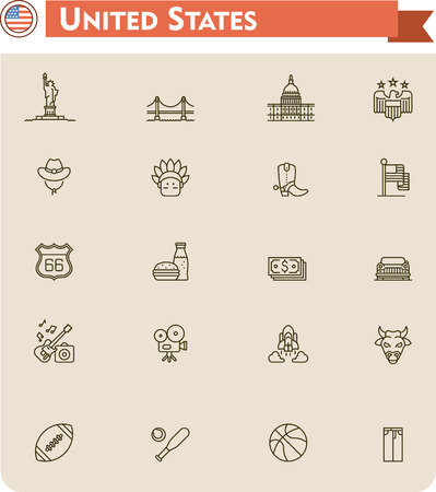Set of the United States of America traveling related icons Vector