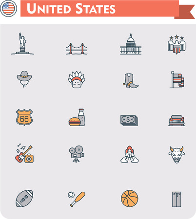 Set of the United States of America traveling related icons