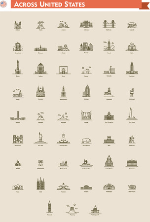 Icon set  represents each state as landmark and travel destination