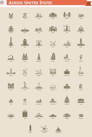 Icono conjunto representa cada estado como punto de referencia y de destino del viaje Foto de archivo - 38638376