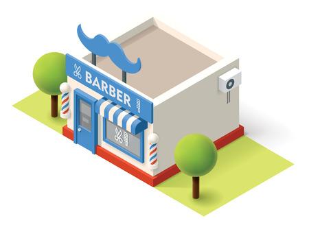 Vector isometric barbershop building icon Illustration