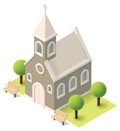 worship white: Vector isometric church building icon