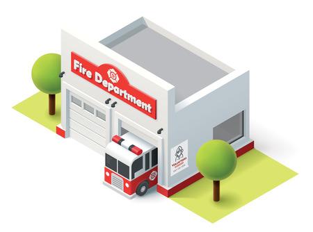 brandweer cartoon: Isometrische brandweerkazerne gebouw pictogram