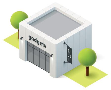 ortseingangsschild: Vector isometrische Gadget Shop Gebäude-Symbol