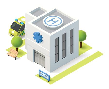 mimari ve binalar: Vektör izometrik hastane binası simgesi Çizim