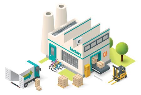 carretillas almacen: Vector icono de edificio de la fábrica isométrica