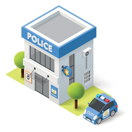 coche: Vector policía isométrica icono edificio del departamento