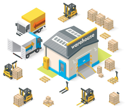 Vector isometrische warehouse Stock Illustratie