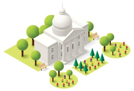 construcci�n: Vector icono edificio del capitolio isom�trica