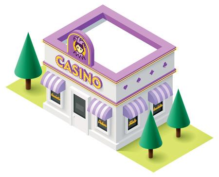 ruleta casino: Vector icono edificio del casino isom�trica