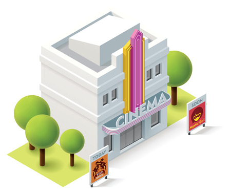 architecture and buildings: Vector isometric movie theater building icon Illustration