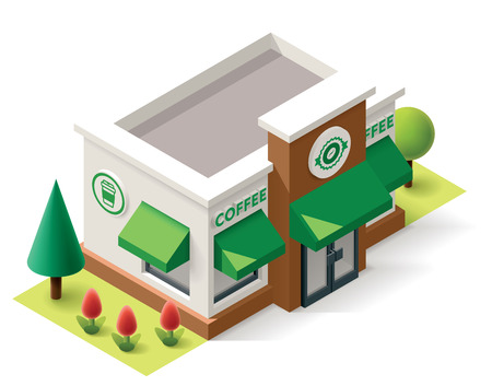 overhang: Vector isometric coffee shop building icon