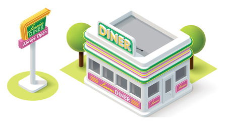 fast food restaurant: Vector isometric diner building icon