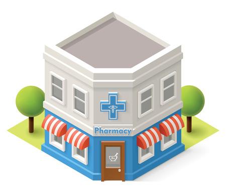 stores: Vector isometrisch apotheek gebouw pictogram