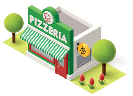 properties: Vector isometric pizzeria building icon