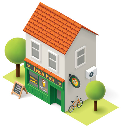 Vector isometric pub building icon Vector
