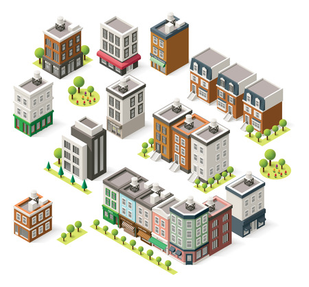 city building: Set of the isometric city buildings, shops and other elements
