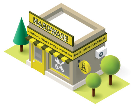 Vector isometric hardware shop building icon Stock Illustratie