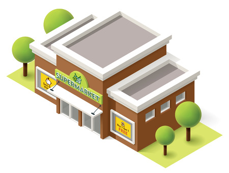 edificio: Vector icono de la construcción de supermercados isométrica