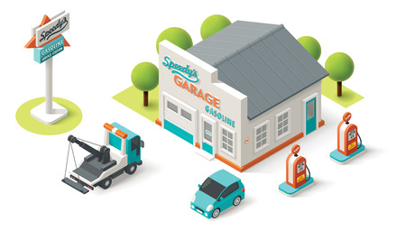 gases: Vector isometric Car Service building icon Illustration
