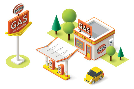 Vector isometric gas filling station building icon Çizim