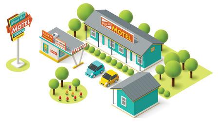 Isometrische motel gebouw pictogram Stock Illustratie