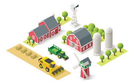 granja caricatura: Iconos isométricos representan Explotación agrícola Vectores