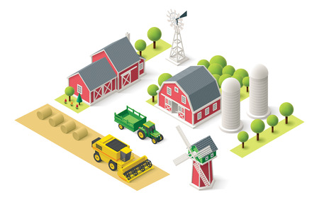 Isometric icons representing farm setting Иллюстрация