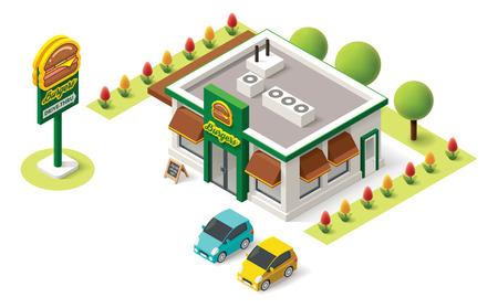 oficina: Vector isométrica icono de la construcción de comida rápida