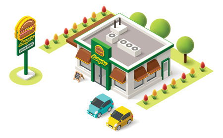 building: Vector isometric fast food building icon