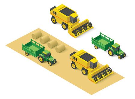 combinar: Iconos isométricos representando cosechadoras y tractores Vectores