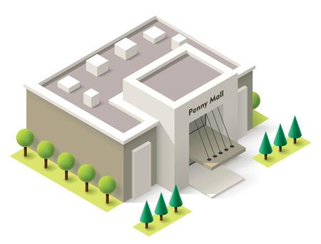 edificio: Vector de compras isométrica icono edificio comercial