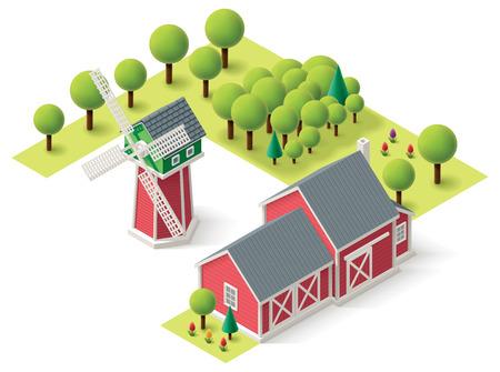 agricultura: Iconos isométricos que representan el molino de viento y el granero Vectores
