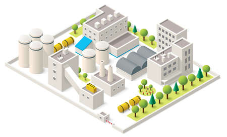 Vector isometric factory buildings icon Vector