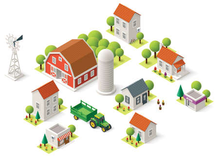 Isometric icons representing rural setting Vector