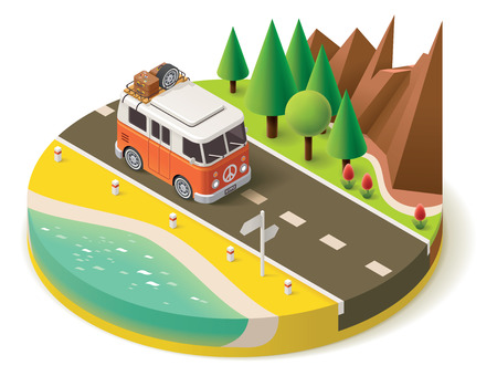 camp: Isometric camper van on the road