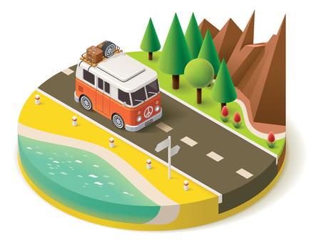 Izometryczny samochód kempingowy na drodze