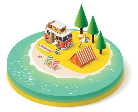 carro caricatura: Caravana isométrica en la playa Vectores