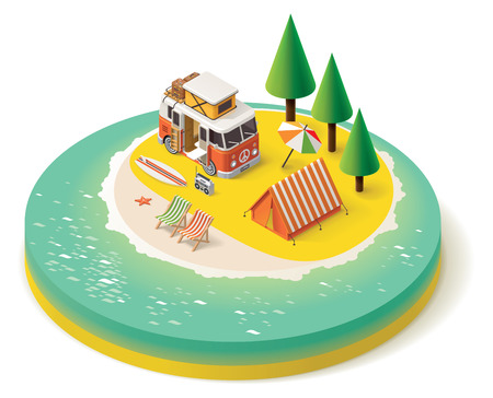camp: Isometric camper van on the beach