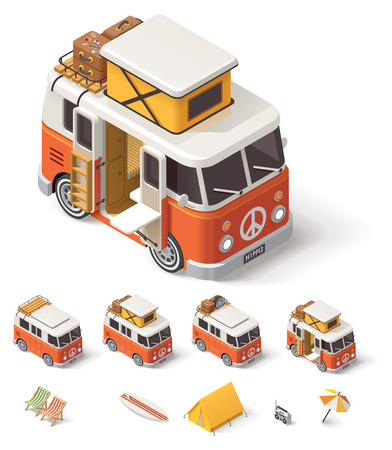 vintage door: Isometric retro camper van and travelers equipment
