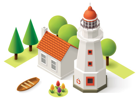 Edificio del faro isométrica con pequeña casa