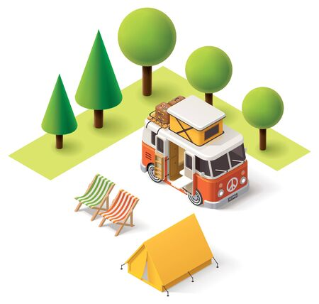 camp: Isometric camper van in the camping