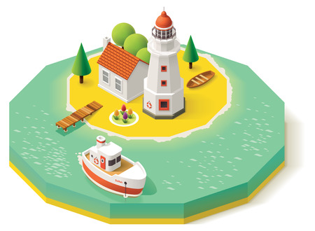3d sail boat: Isometric lighthouse building with pier and ship