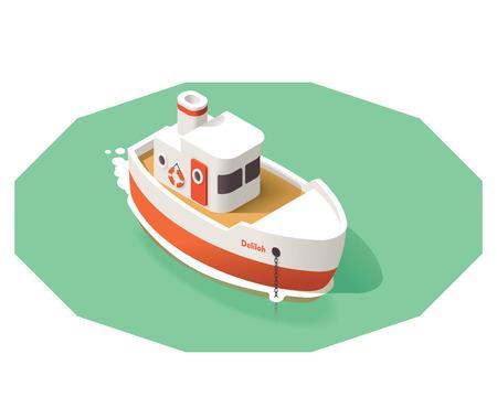 barca da pesca: Icona isometrica che rappresenta piccola nave