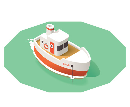 Icono isométrico representando pequeño barco