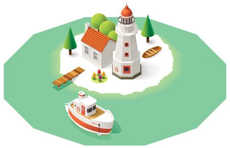 tug boat: Isometric lighthouse building with pier and ship
