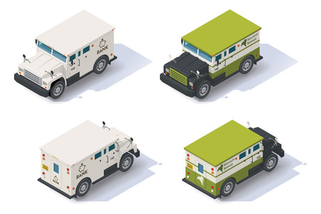 caja fuerte: Banco isométrica frontal camión blindado termina de visión trasera Vectores