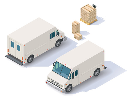 delivery car: Isometric delivery step van  front end rear view